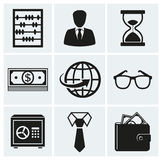 Business and finance icons. Vector set. Business and finance icons. Set of silhouette black elements for your design. Vector illustration Royalty Free Stock Images
