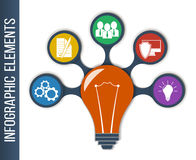 Business, finance. Idea Concept Layout for Teamwork and Brainstorming in form of lamp. Infographic background with integrated icons for development, investment Stock Images