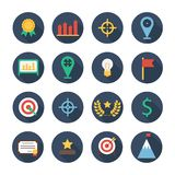 Business and finance infographic design elements. Set of vector target icons. Illustration in flat style. Royalty Free Stock Photography