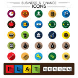 Business, finance & internet e-commerce flat design vector icons. Set. The graphic also represents concepts like saving cash, business, growth, investment Stock Photo