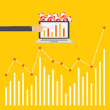 Business finance investment with charts and graphs. vector. Flat design style, Vector illustration. EPS 10 Stock Image