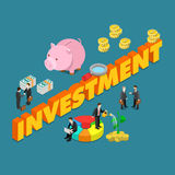 Business finance investment flat 3d isometric big concept vector Stock Images