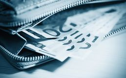 Business, finance, investment, saving and cash concept - close u Royalty Free Stock Photos