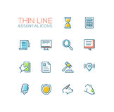 Business, Finance, Law Symbols - thick line design icons set Stock Photos