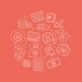 Business finance line icon circle set. Vector illustration file Stock Photo
