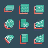 Business finance line icon set. Anaglyph 3d. Stock Photo