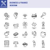Business And Finance Line Icons With Keywords. Line Icons About Business And Finance Stock Photography