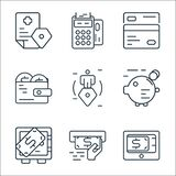 business and finance line icons. linear set. quality vector line set such as payment gateway, money, safe deposit, piggy bank,