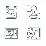 Business and finance line icons. linear set. quality vector line set such as , payment gateway, stamp