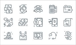 Business and finance line icons. linear set. quality vector line set such as secu loan, payment gateway, success, support, money