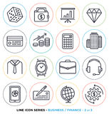 Business & finance line icons set. Business & finance line icons set. Vector collection of investment symbols & accounting equipments Royalty Free Stock Images