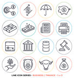 Business & finance line icons set. Vector collection of money symbols & accounting equipments Stock Photography