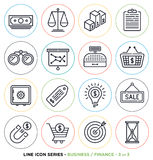 Business & finance line icons set. Vector collection of money symbols & accounting equipments Royalty Free Stock Photography