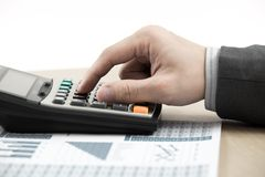 Business finance man calculating budget numbers Stock Photos