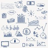 Business finance management infographics social. Media doodle hand draw elements. Concept - graph chart pie arrows signs earning money Stock Image