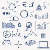 Business finance management infographics social. Media doodle hand draw elements. Concept - graph chart pie arrows signs earning money Stock Photos