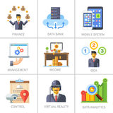 Business and finance, marketing and management. Data bank, mobile system, income, idea, control, virtual reality, analytics. Vector flat icon set Royalty Free Stock Image