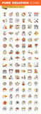 Business,finance and marketing thin line flat design web icons collection Royalty Free Stock Image