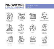 Business, finance modern thin line design icons and pictograms. Business and finance - set of modern vector thin line flat design icons and pictograms Royalty Free Stock Photos