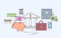 Business Finance Money Concept Bank Save Currency Royalty Free Stock Photos