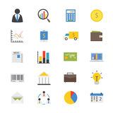 Business and Finance Money Flat Icons color Royalty Free Stock Images