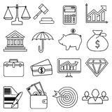 Business finance money line icons set. In black Royalty Free Stock Image