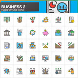 Business, finance, money, line icons set, filled outline vector symbol collection, linear colorful pictogram pack. Signs, logo ill. Ustration. Set includes icons Royalty Free Stock Photo