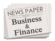 Business and finance on newspaper isolated. 3D rendering Royalty Free Stock Photos