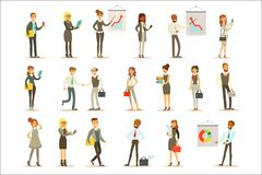 Business, Finance And Office Employees In Suits Busy At Work Set Of Cartoon Businessman And Businesswoman Characters. Illustrations. Collection Of Vector vector illustration