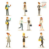 Business, Finance And Office Employees In Suits Busy At Work Set. Of Cartoon Businessman And Businesswoman Characters Illustrations. Collection Of Vector Royalty Free Stock Photography