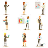 Business, Finance And Office Employees In Suits Busy At Work Set Of Smiling Cartoon Businessman And Businesswoman royalty free illustration