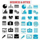 Business, finance and office flat icons. With black and blue silhouettes of financial reports, money, handshake, chart, briefcases, laptop, news, globe Royalty Free Stock Images