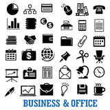 Business, finance and office flat icons set. Business, finance and office flat icons with laptop, telephone, finance chart idea calendar currency handshake Royalty Free Stock Photo