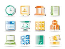 Business, finance and office icons Stock Photos