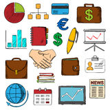 Business, finance and office icons. With financial reports and money, handshake and chart, briefcases and laptop, news and globe, calendar, pen and organizer Royalty Free Stock Images