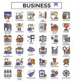Business and finance outline design icon set filled with color. Business and finance outline design icon set filled with color for website, presentation, book Royalty Free Stock Photo