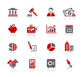 Business & Finance // Redico Series. Set of decorative red icons isolated on white background for your business projects Stock Images