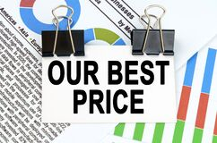Among the reporting charts and diagrams is a plate with the inscription - OUR BEST PRICE