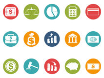 Business and Finance round button icons set Royalty Free Stock Photography