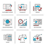 Business and finance routine line icons set Stock Images