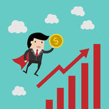 Business finance. save money for investment concept,cartoon businessman with money in his hand to save. cartoon  illu. Vector business finance. save money for Royalty Free Stock Image