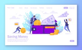 Business and finance, saving money theme. Concepy of career, salary, earnings profit. Flat business man character collecting money. Into the wallet. Business stock illustration