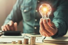 Business finance and saving power. new idea solar energy. With accounting concept stock photos