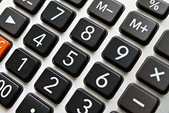 Close up of black button calculator Royalty Free Stock Photography