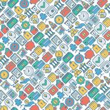 Business and finance seamless pattern. With thin line icons related to financial strategy, planning, human thinking and start up. Vector illustration for banner Royalty Free Stock Photo