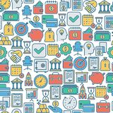 Business and finance seamless pattern. With thin line icons related to financial strategy, planning, human thinking and start up. Vector illustration for banner Royalty Free Stock Images