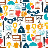 Business and finance seamless pattern from flat. Icons Stock Photo