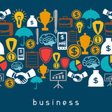 Business and finance seamless pattern from flat. Icons Stock Image