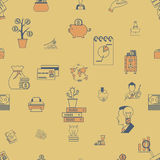 Business and Finance Seamless Pattern. Simple and Minimalistic Style Stock Images