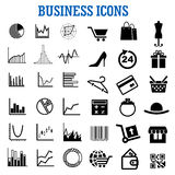 Business, finance, shopping and retail flat icons. Business, finance, shopping, retail and commerce flat icons with charts, online store, bank credit card Royalty Free Stock Images